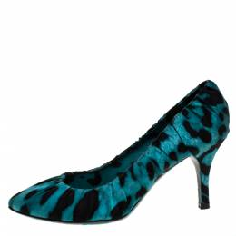 Dolce and Gabbana Blue Printed Fabric Pumps Size 37.5