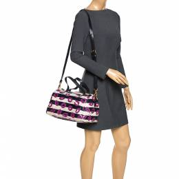 Marc by Marc Jacobs Multicolor Coated Canvas Easy Lips Bowler Bag 271390