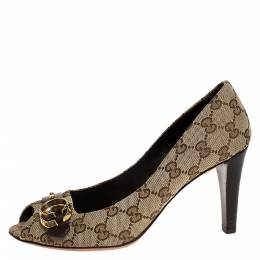 Gucci Beige/Brown GG Canvas Logo Peep Toe Pumps Size 38.5