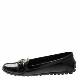Louis Vuitton Black Patent Leather Oxford Logo Slip On Loafers Size 36.5