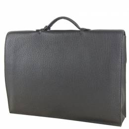 Hermes Black Clemence Leather Taurillon Sac a Depeches Briefcase