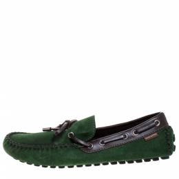 Louis Vuitton Green Suede Leather Bow Loafers Size 41 271921