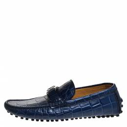 Louis Vuitton Blue Croc Embossed Leather Monte Carlo Loafers Size 41 271324