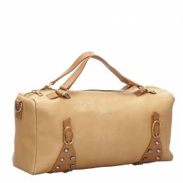 Celine Beige/Brown Studded Leather Satchel Bag