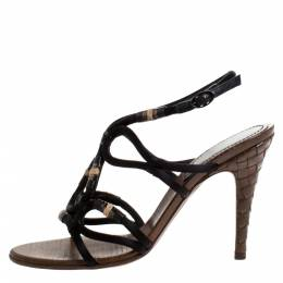 Bottega Veneta Black Satin And Leather Intrecciato Heel Sandals Size 38.5 272174