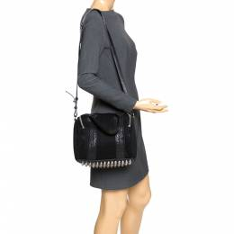 Alexander Wang Black Leather and Fabric Crochet Rocco Bag 272242