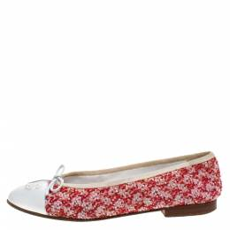 Chanel Red/White Tweed Fabric And Leather CC Cap Toe Bow Ballet Flats Size 38 272815