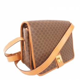 Celine Brown Macadam Canvas Shoulder Bag