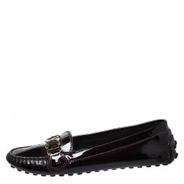Louis Vuitton Burgundy Patent Leather Oxford Loafers Size 40