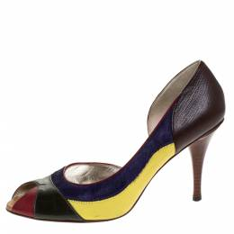 Dolce and Gabbana Multicolor Pony Hair And Leather Peep Toe Pumps Size 39