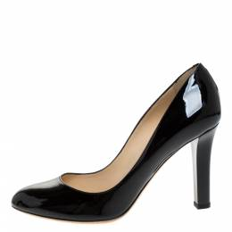 Jimmy Choo Black Patent Leather Georgia Round Toe Pumps Size 39