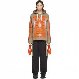 Craig Green SSENSE Exclusive Khaki and Orange Cagoule Embroidered Hoodie CGSS20MWOSHI11