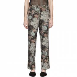 Dries Van Noten Black and Green Floral Trousers 20920-9066-703