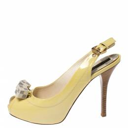 Louis Vuitton	 Yellow Patent Leather New Saint Honore Slingback Platfrom Sandals Size 36 273616