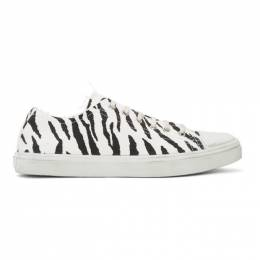 Saint Laurent	 White and Black Zebra Bedford Sneakers 6024621OD00
