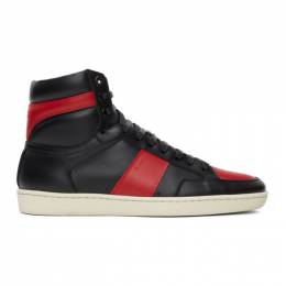 Saint Laurent	 Black and Red Court Classic SL/10H High-Top Sneakers 418026 0MP30