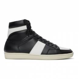 Saint Laurent	 Black and White SL/10 High-Top Sneakers 418026 0MP30