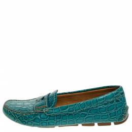 Prada Teal Croc Embossed Leather Penny Loafers Size 37 274667