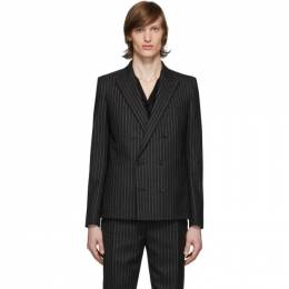 Saint Laurent	 Black and Silver Lame Blazer 596947Y1A90