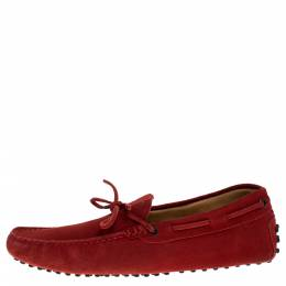 Tod's Red Suede Bow Detail Driving Loafers Size 42 Tod's