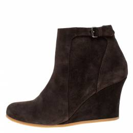 Lanvin Brown Suede Zip Wedge Ankle Boots Size 37.5 274931