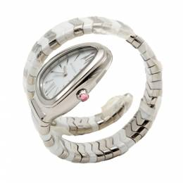 Bvlgari White Serpenti Spiga Stainless Steel & Ceramic Women's Watch Small Size 275204