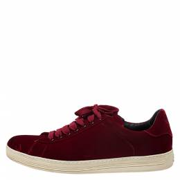Tom Ford Red Velvet Russell Low Top Sneakers Size 43 275529
