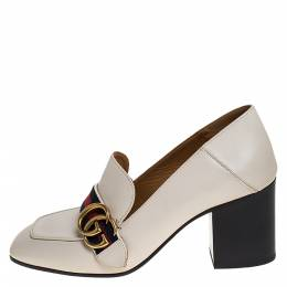 Gucci Off White Leather Web GG Marmont Loafer Pumps Size 37 275681