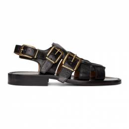 Dries Van Noten	 Black Leather Sandals MS27/103 QU122