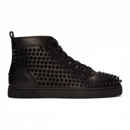 Christian Louboutin Black Louis Spikes High-Top Sneakers 1101083