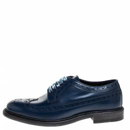 Burberry Blue Brogues Leather Alexton Lace Up Derby Size 40 276998