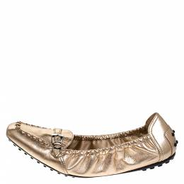 Tod's Metallic Gold Foil Leather Buckle Detail Loafer Scrunch Ballet Flats Size 39.5 Tod's