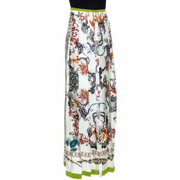 Roberto Cavalli Off White Printed Silk Button Front Long Skirt M 276665