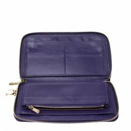Dior Purple Cannage Quilted Leather Zippy Wallet 277256