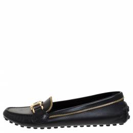 Louis Vuitton Black Leather Zip Detail Oxford Loafers Size 39
