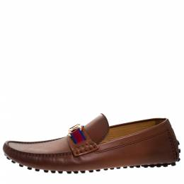 Louis Vuitton Brown Leather Hockenheim Loafers Size 43.5 277533