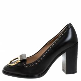 Salvatore Ferragamo	 Black Leather Fele Gancio Detail Block Heel Loafer Pumps Size 40.5
