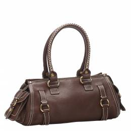 Celine Brown/Dark Brown Leather Shoulder Bag