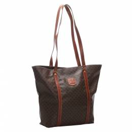 Celine Brown Macadam Canvas Leather Tote Bag