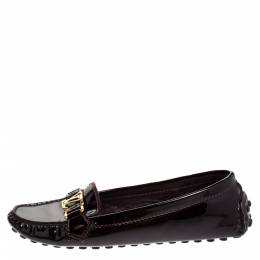 Louis Vuitton Burgundy Patent Leather Oxford Loafers Size 38.5