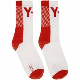 Y-3 Red and White Logo Socks FR2826