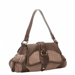 Celine Brown Canvas Leather Shoulder Bag