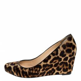Christian Louboutin Brown Pony Hair New Peanut Wedge Pumps Size 40 279282