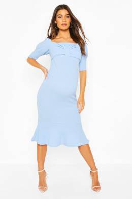 Maternity Peplum Hem Cap Sleeve Midi Dress Boohoo BZZ45732-381-16