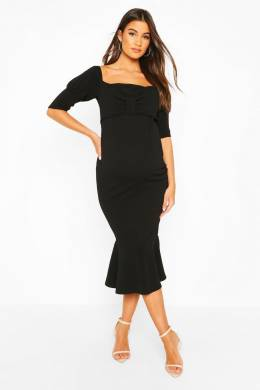 Maternity Peplum Hem Cap Sleeve Midi Dress Boohoo BZZ45732-105-22