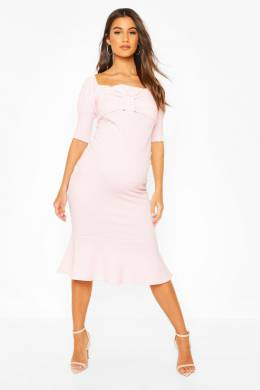 Maternity Peplum Hem Cap Sleeve Midi Dress Boohoo BZZ45732-354-24