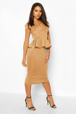Cap Sleeve Peplum Midi Dress Boohoo FZZ69989-111-16