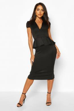Cap Sleeve Peplum Midi Dress Boohoo FZZ69989-105-24