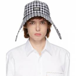 Burberry	 Black and White Gingham Bonnet Hat 8027773
