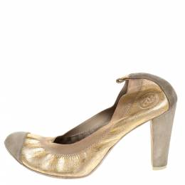 Chanel Gold/Grey Textured Leather And Suede Cap Toe Scrunch Pumps Size 37 279756